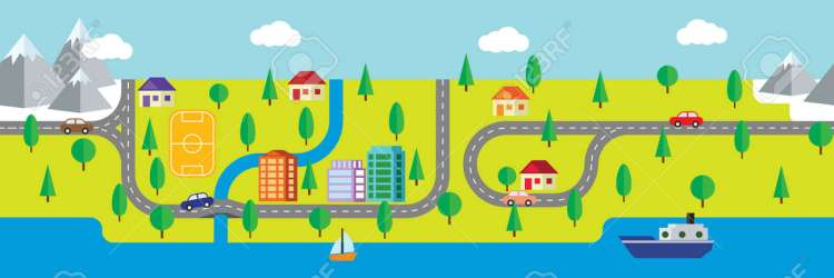 Seamless Map Of Small Town And Countryside With Buildings Roads Royalty Free Cliparts Vectors And Stock Illustration Image 51313557