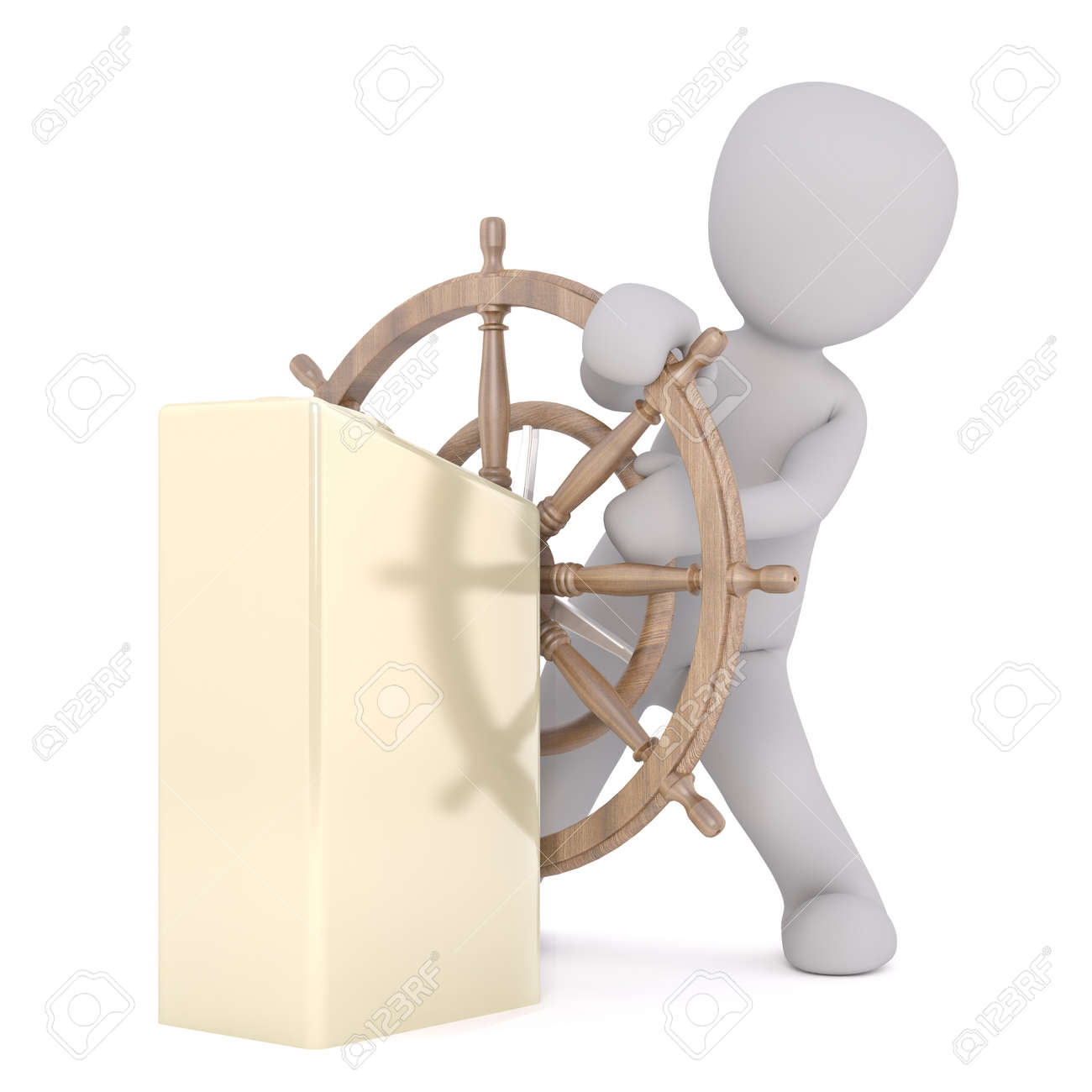 hight resolution of full body 3d toon steering wooden ships wheel white background stock photo 69834001
