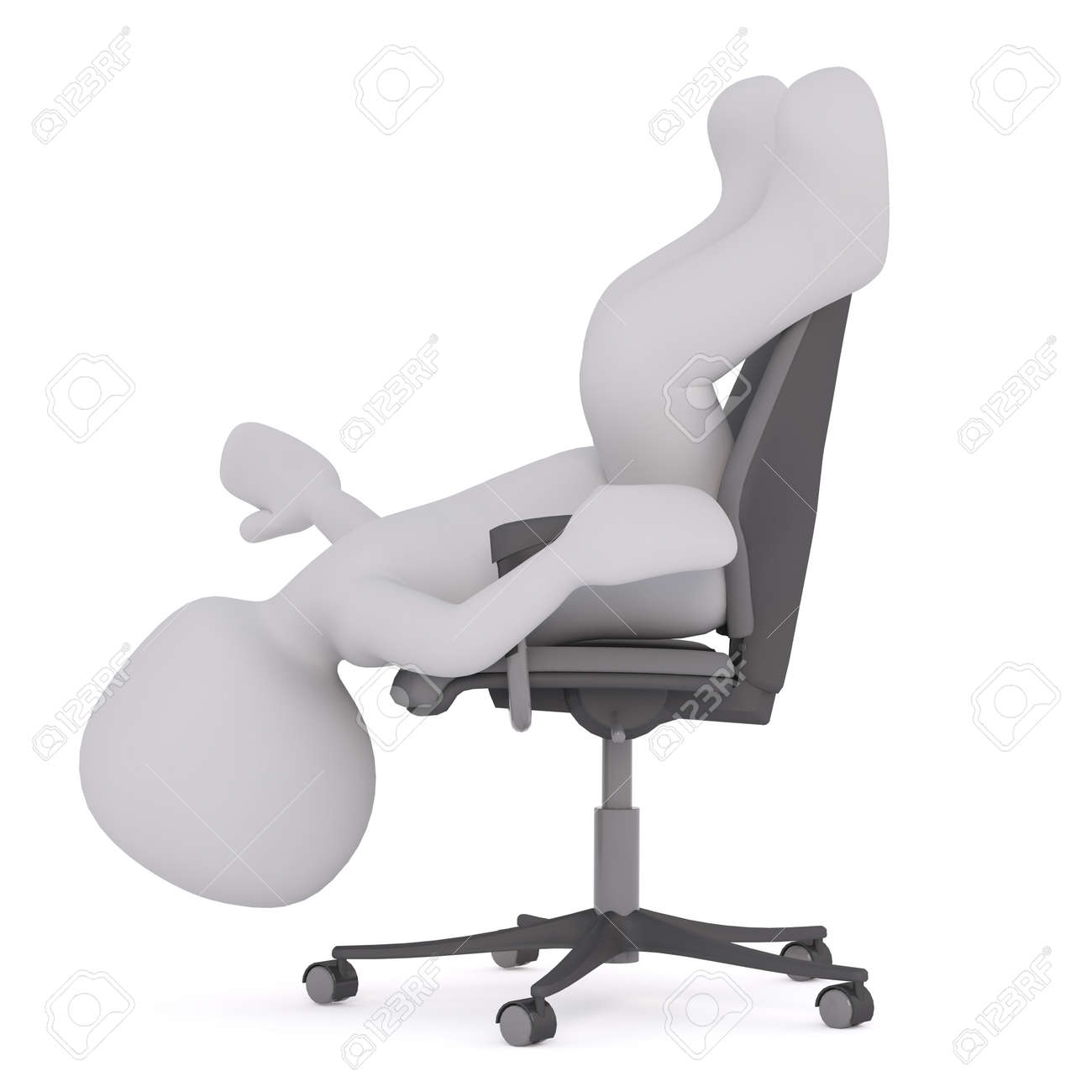 hanging upside down chair for back chairs with stand figure of faceless 3d man laying on his in office stock head