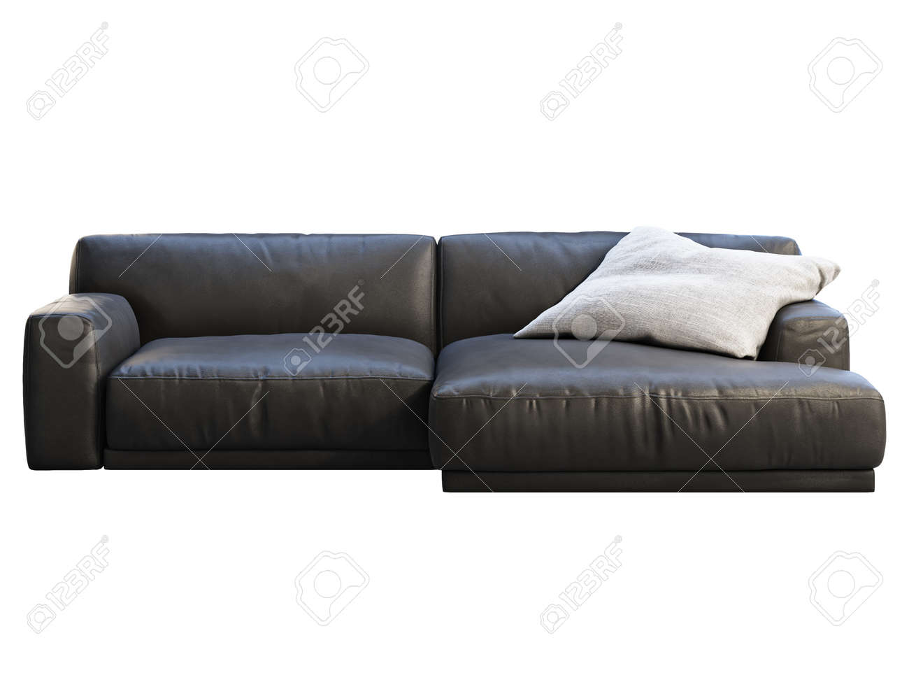 Modern Chaise Lounge Sofa Black Leather Sofa With Gray Fabric Stock Photo Picture And Royalty Free Image Image 145879373