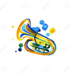 stock photo watercolor copper brass band tuba on white background [ 1299 x 1300 Pixel ]