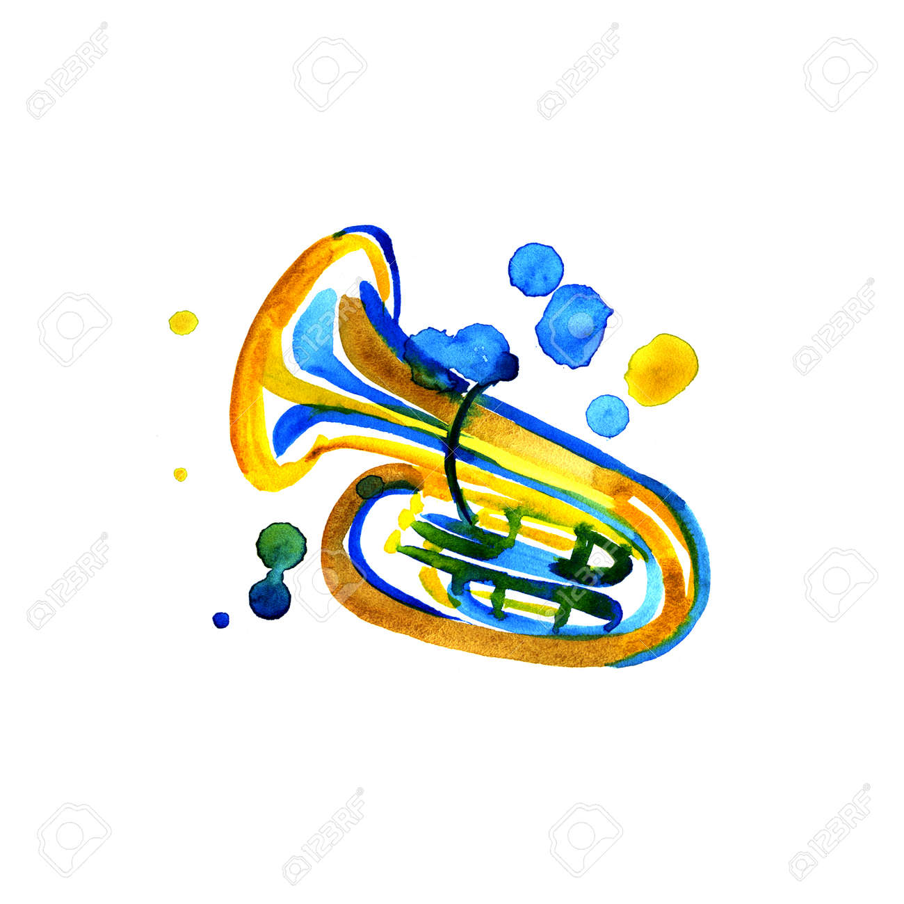hight resolution of stock photo watercolor copper brass band tuba on white background