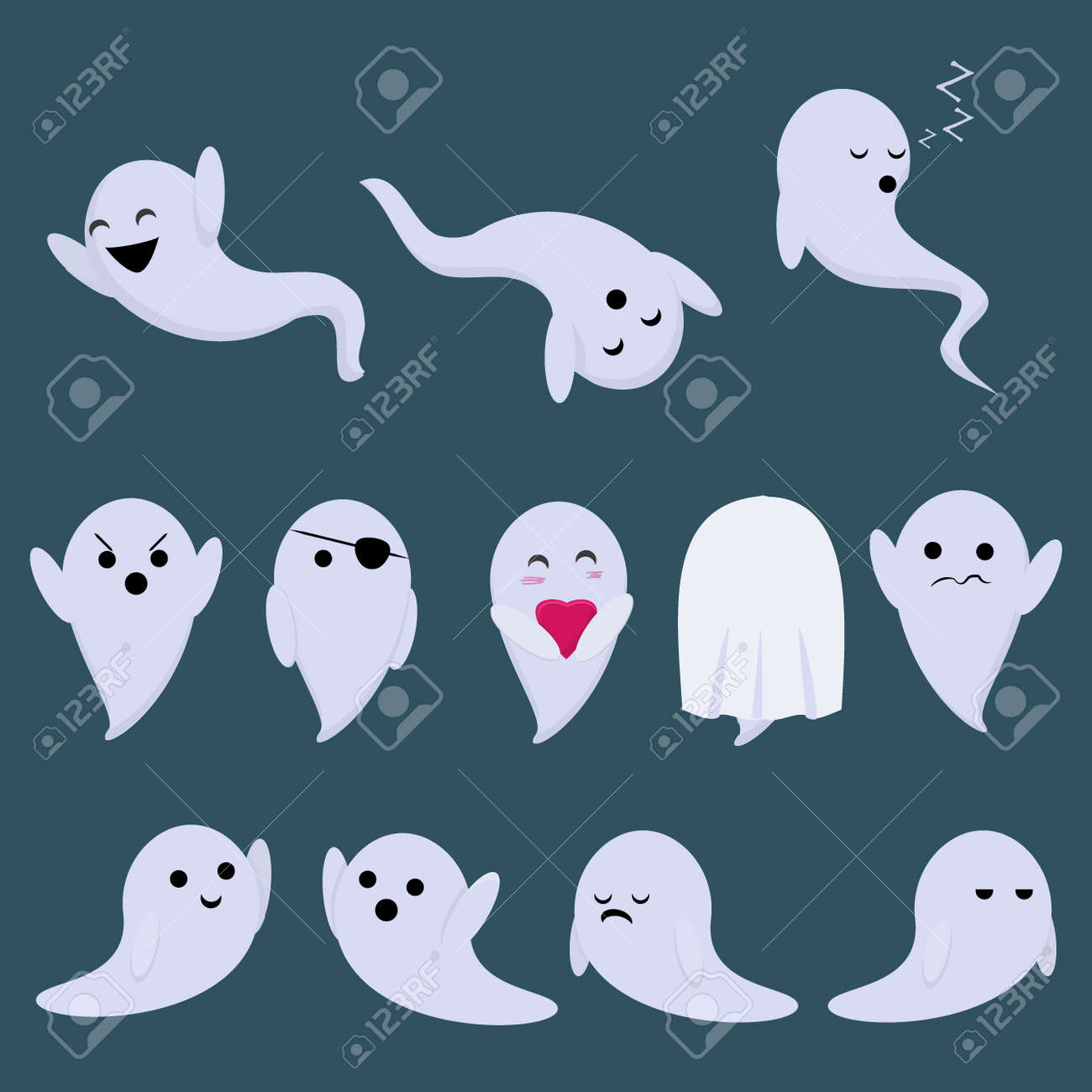 A Set Of Vector Stickers For A Holiday Of Halloween With Ghosts Royalty Free Cliparts Vectors And Stock Illustration Image 90496692