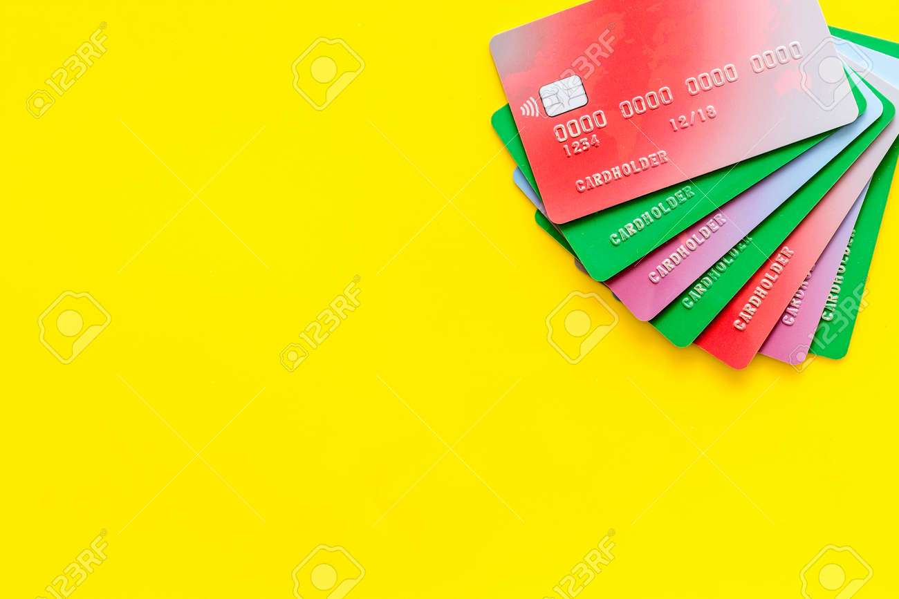 Bank Cards Credit Cards For Online Payment In Shop On Yellow Stock Photo Picture And Royalty Free Image Image 127741484