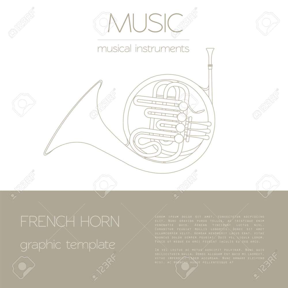 medium resolution of musical instruments graphic template french horn vector illustration stock vector 47951810