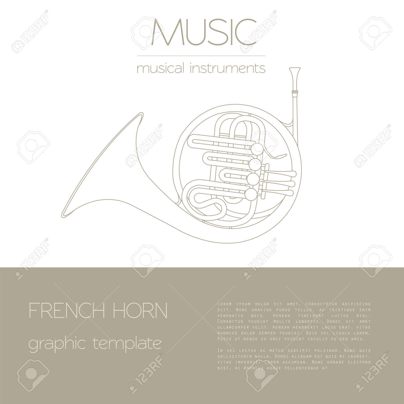 hight resolution of musical instruments graphic template french horn vector illustration stock vector 47951810