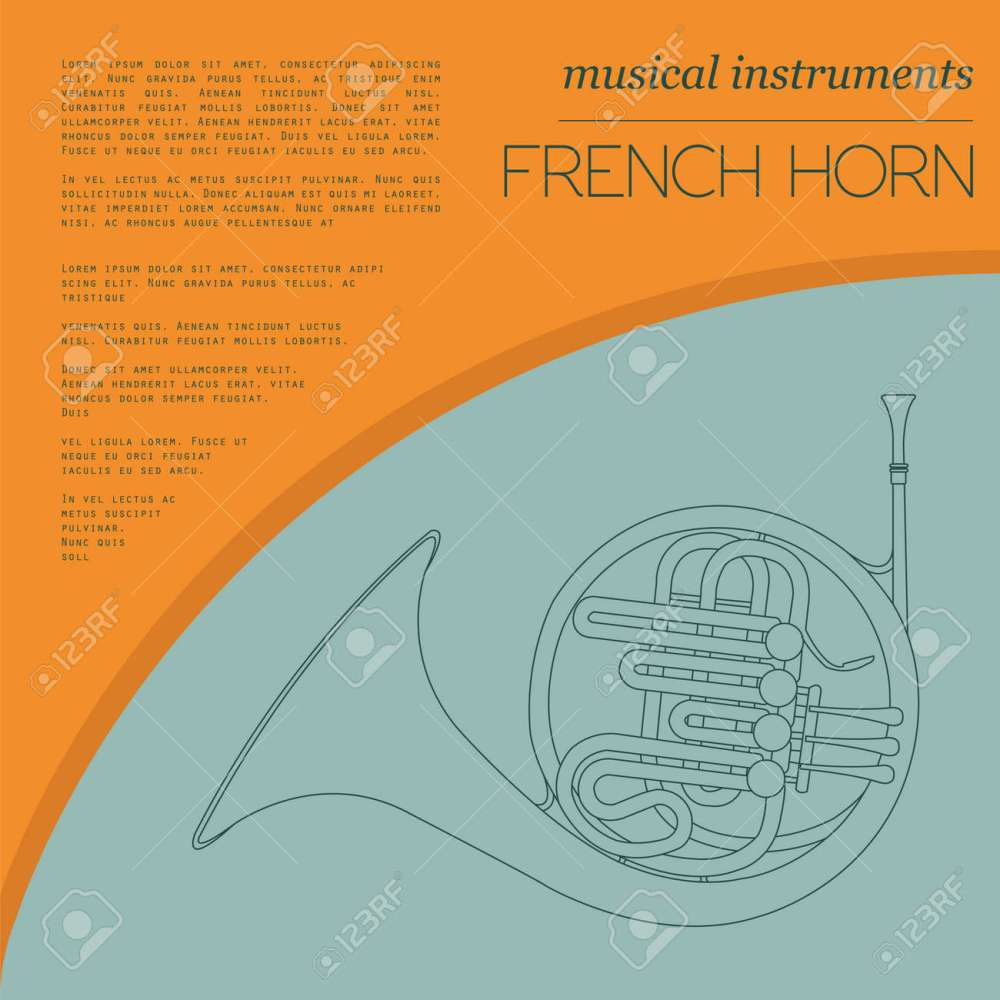medium resolution of musical instruments graphic template french horn vector illustration stock vector 47951787