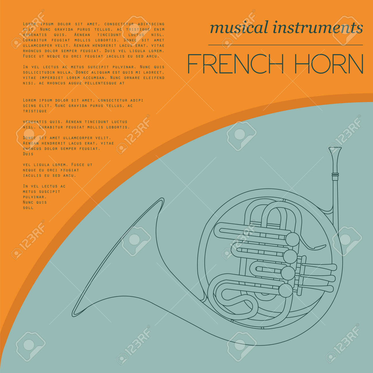 hight resolution of musical instruments graphic template french horn vector illustration stock vector 47951787