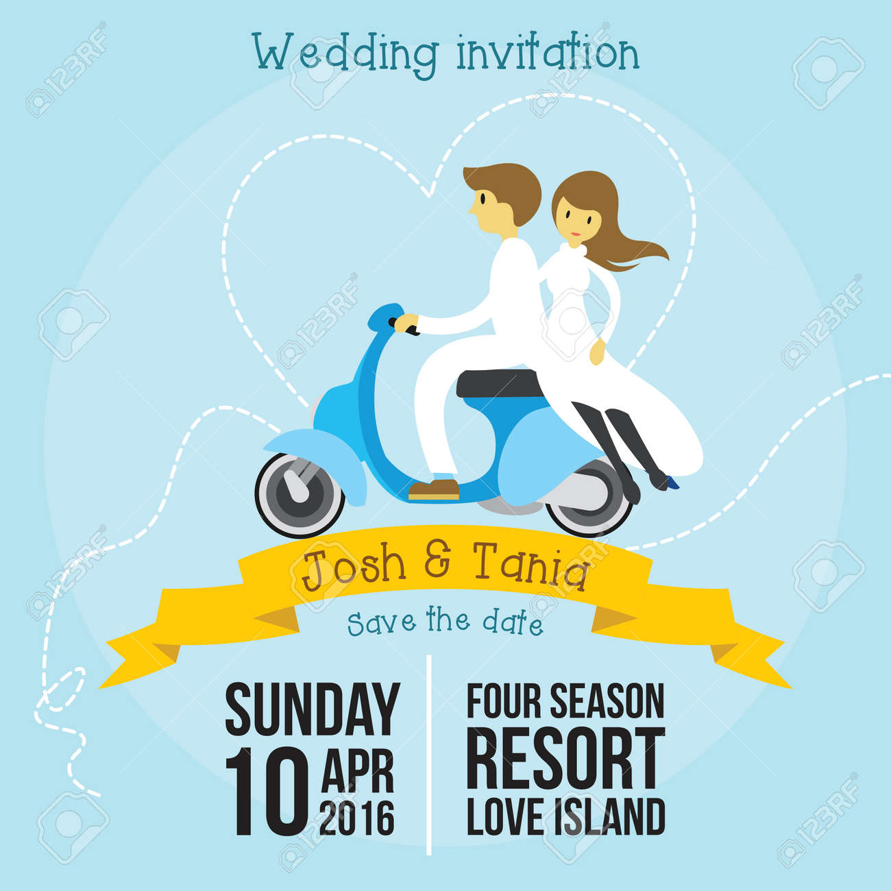 500+ vectors, stock photos & psd files. Cute Wedding Invitation Cartoon Style Template With Soft Blue Background Vector Illustration Royalty Free Cliparts Vectors And Stock Illustration Image 67376962