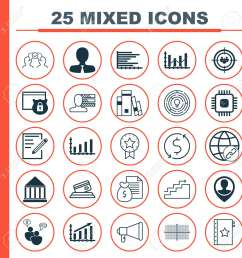 set of 25 universal icons on square diagram chip report and more topics  [ 1300 x 1300 Pixel ]