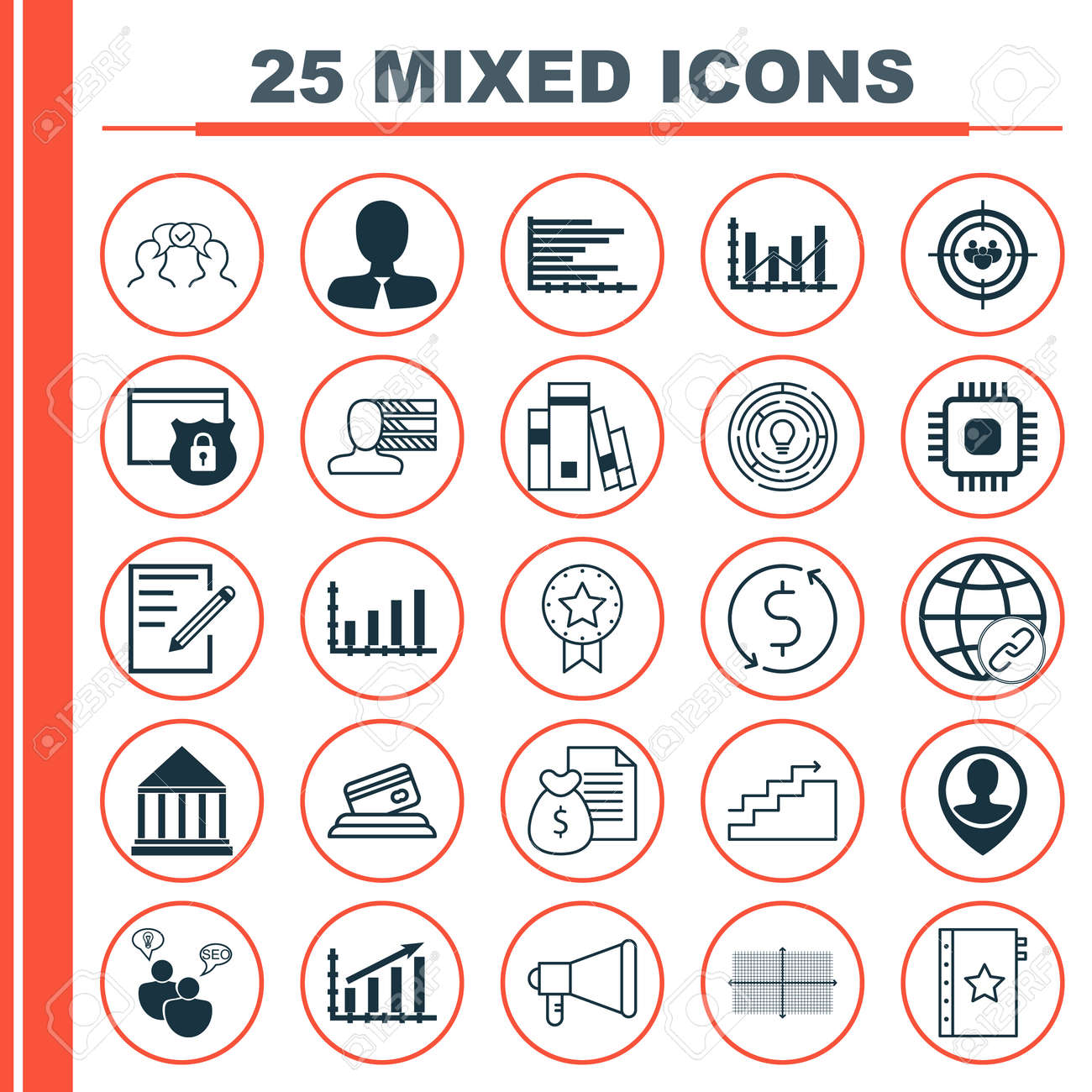hight resolution of set of 25 universal icons on square diagram chip report and more topics