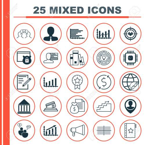 small resolution of set of 25 universal icons on square diagram chip report and more topics