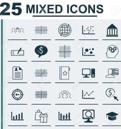 set of 25 universal icons on changes graph world square diagram and more topics [ 1300 x 1300 Pixel ]
