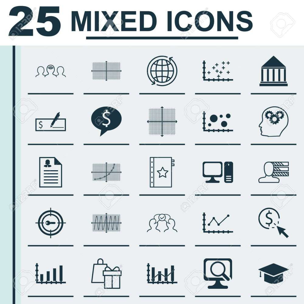 medium resolution of set of 25 universal icons on changes graph world square diagram and more topics
