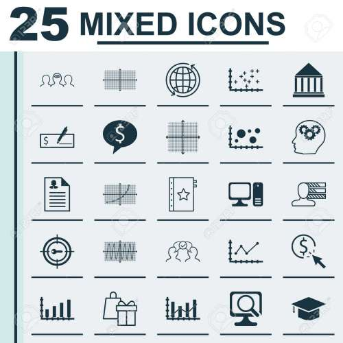 small resolution of set of 25 universal icons on changes graph world square diagram and more topics