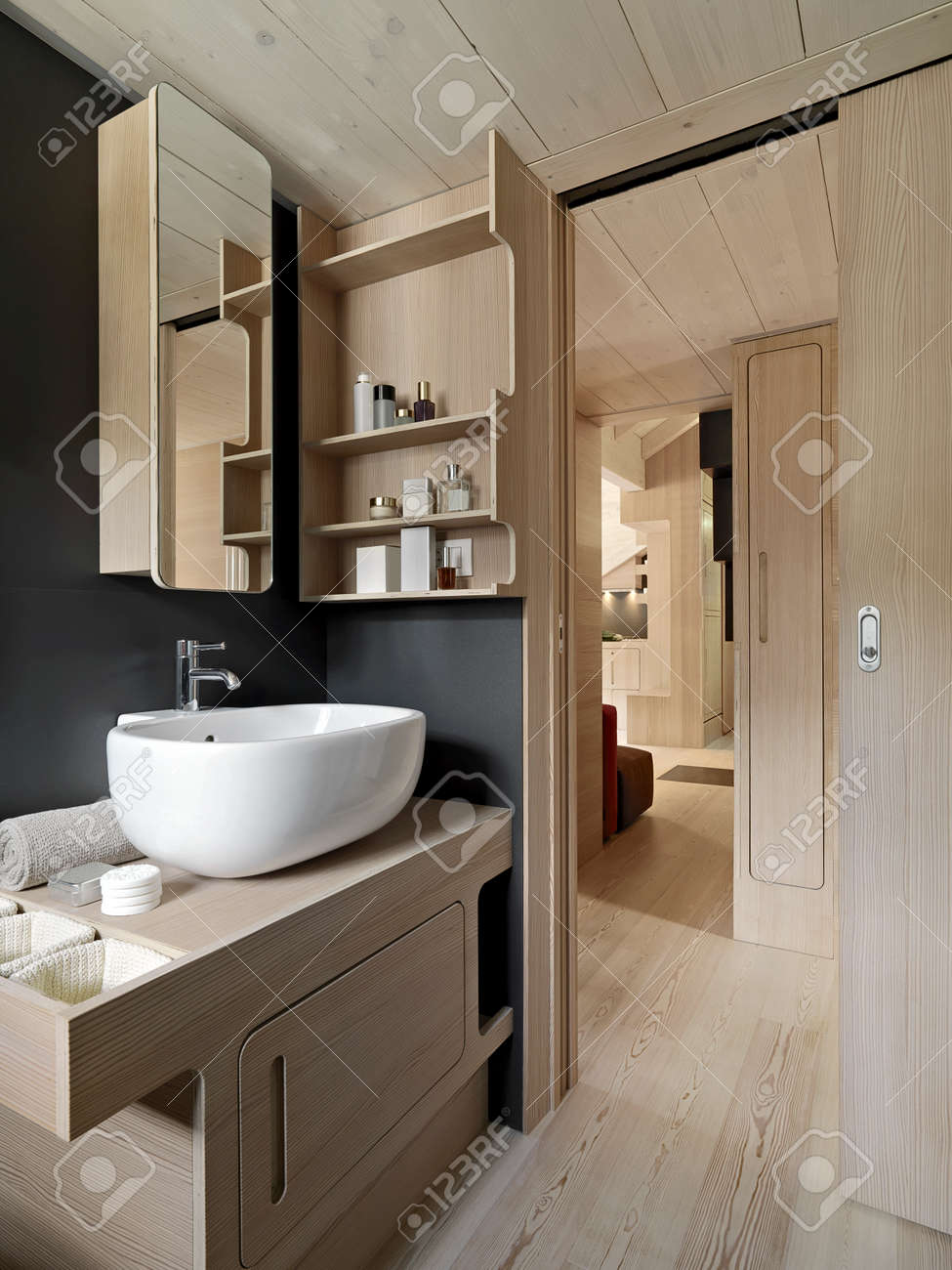 Paneling For Bathroom Interior View Of A Modern Bathroom With Wood Paneling