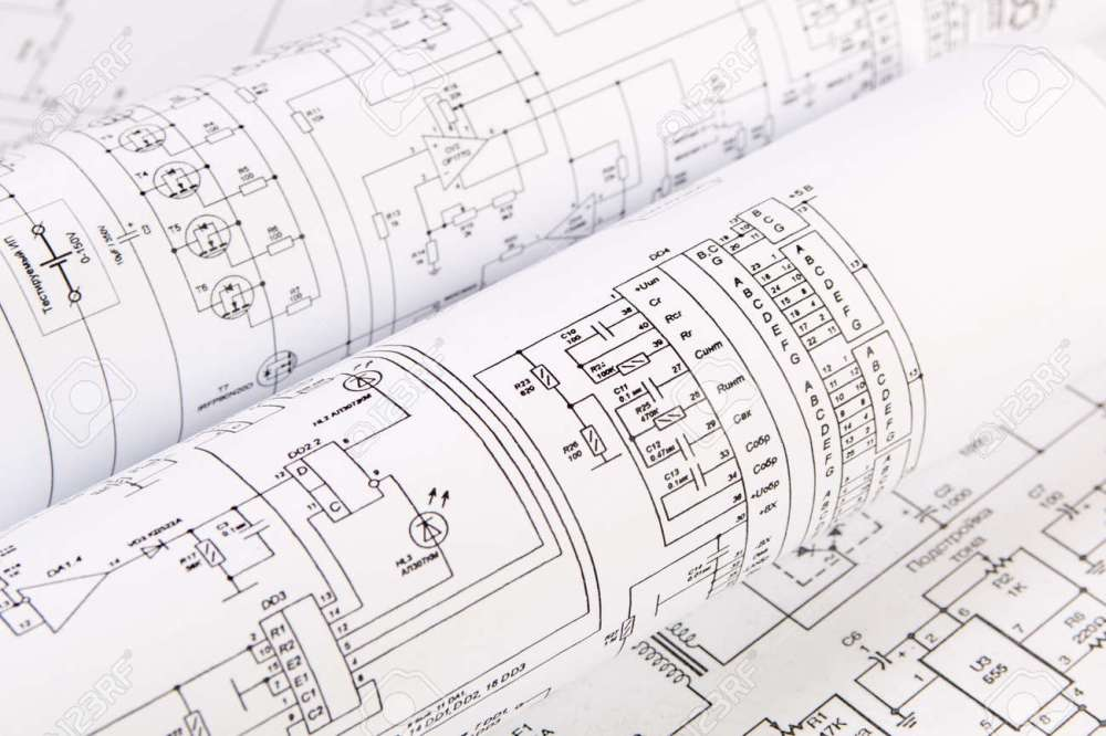 medium resolution of science technology and electronics electrical engineering drawings printing scientific development stock photo