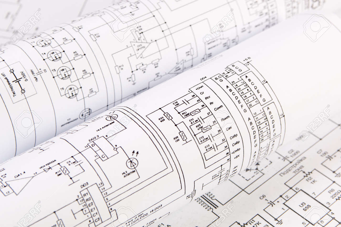 hight resolution of science technology and electronics electrical engineering drawings printing scientific development stock photo