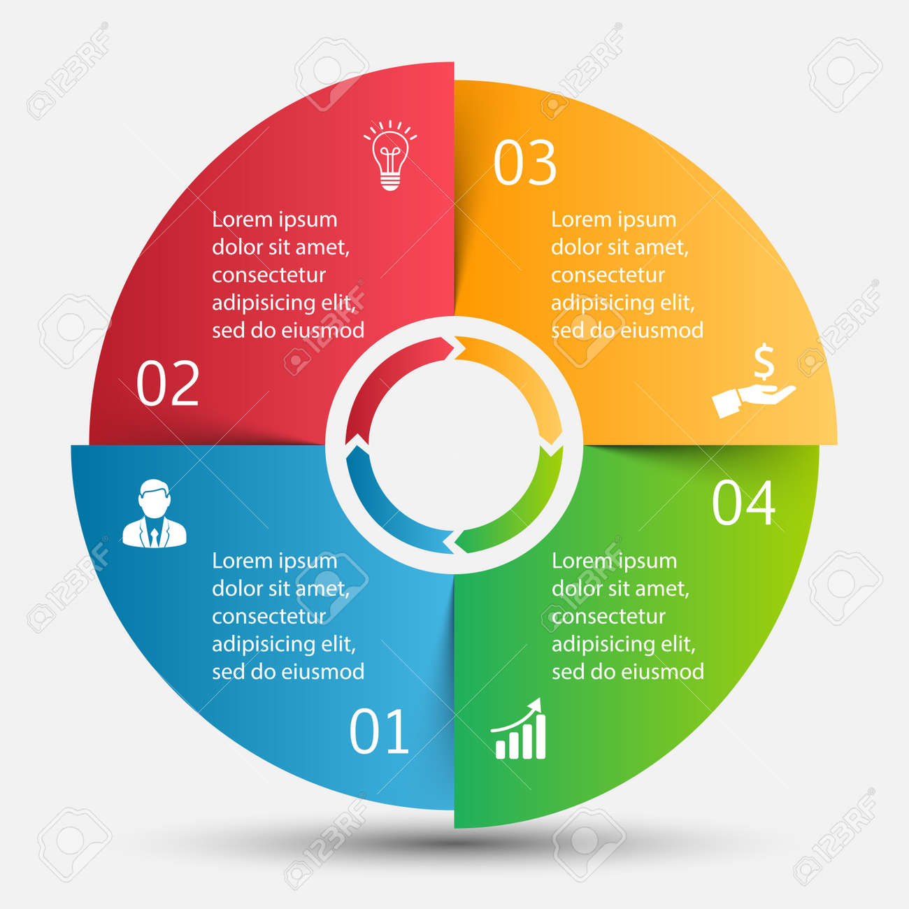 hight resolution of template for cycle diagram graph presentation and round chart business concept with 4 options parts steps or processes data visualization