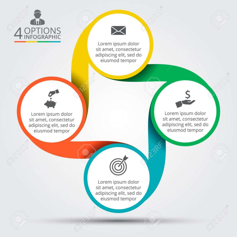 medium resolution of template for cycle diagram graph presentation and round chart business concept with 4 options parts steps or processes data visualization