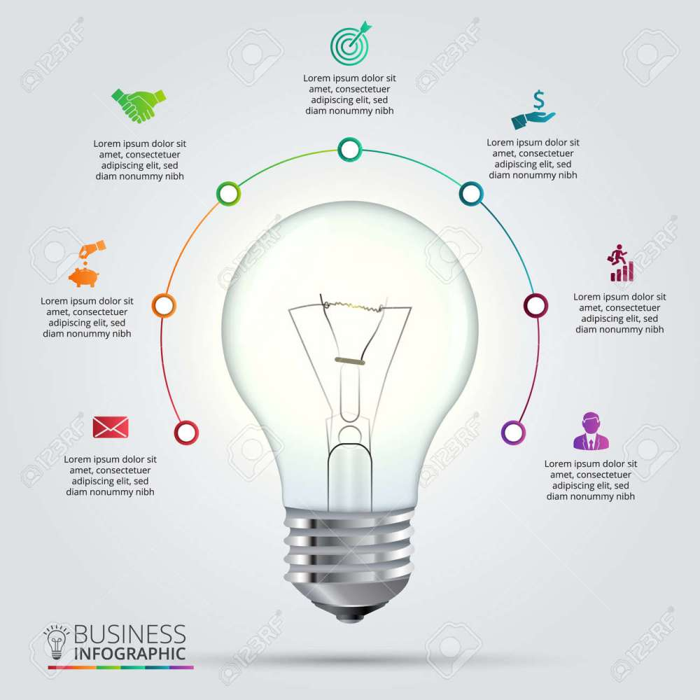 medium resolution of light bulb with circle elements for infographic template for cycling diagram graph presentation