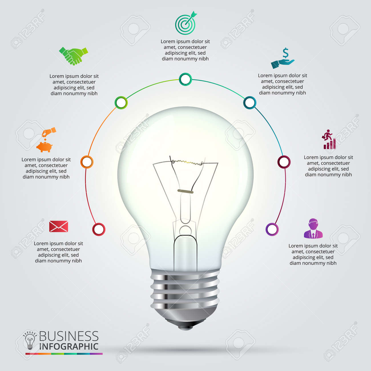 hight resolution of light bulb with circle elements for infographic template for cycling diagram graph presentation