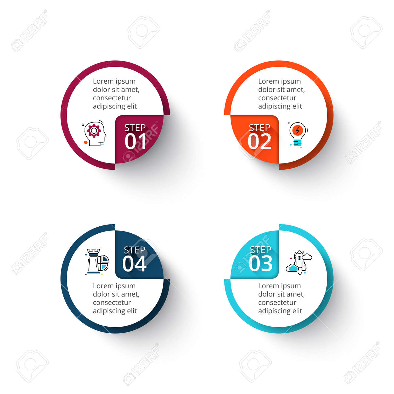 hight resolution of vector vector circle elements for infographic template for cycle diagram graph presentation and round chart business concept with 4 options parts