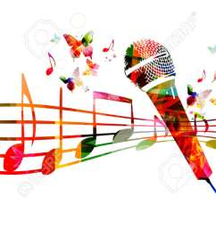 colorful music background with microphone and music notes stock vector 61585835 [ 1300 x 629 Pixel ]