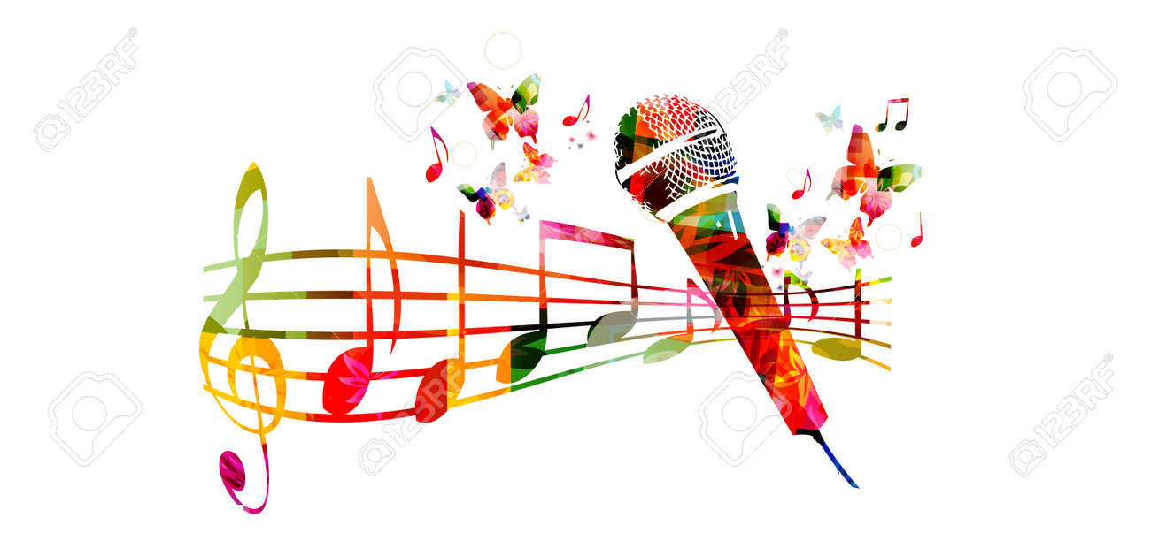 hight resolution of colorful music background with microphone and music notes stock vector 61585835