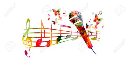 small resolution of colorful music background with microphone and music notes stock vector 61585835