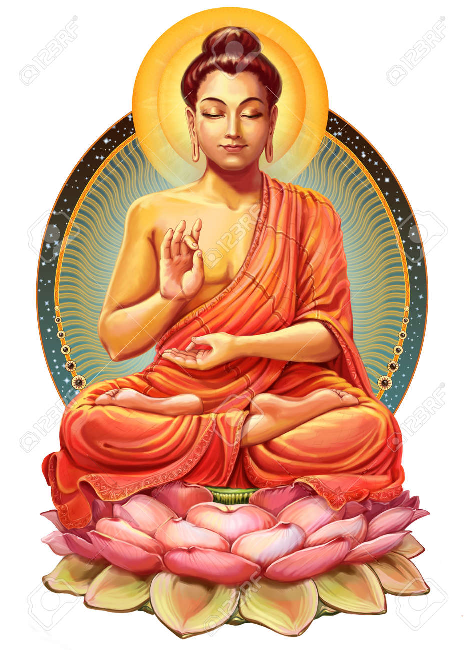 hight resolution of illustration with buddha in meditation raster illustration stock photo