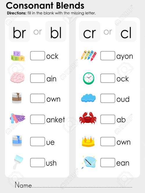 small resolution of Consonant Clusters Worksheets - Letter