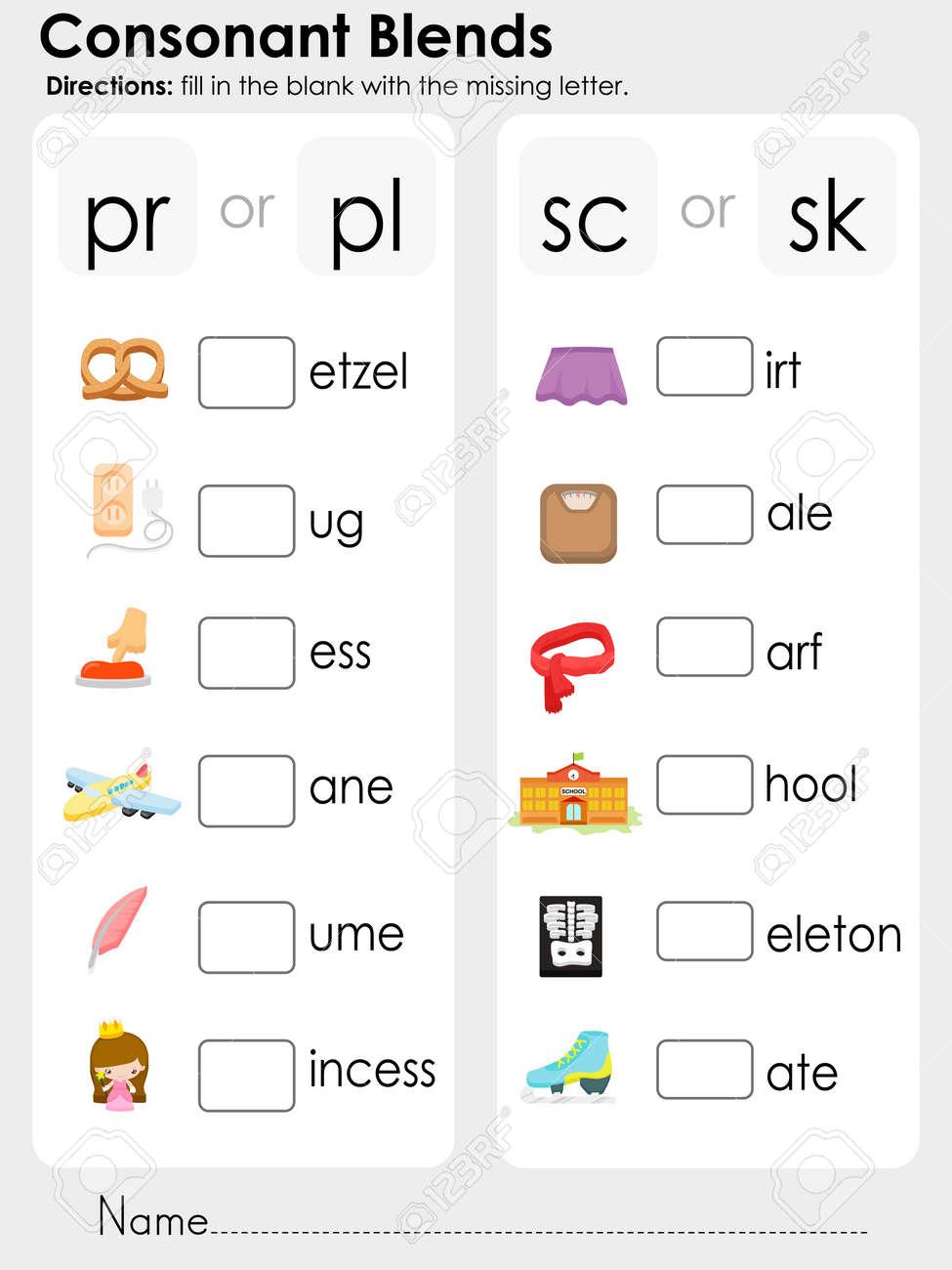 medium resolution of Consonant Blend Worksheets - Letter