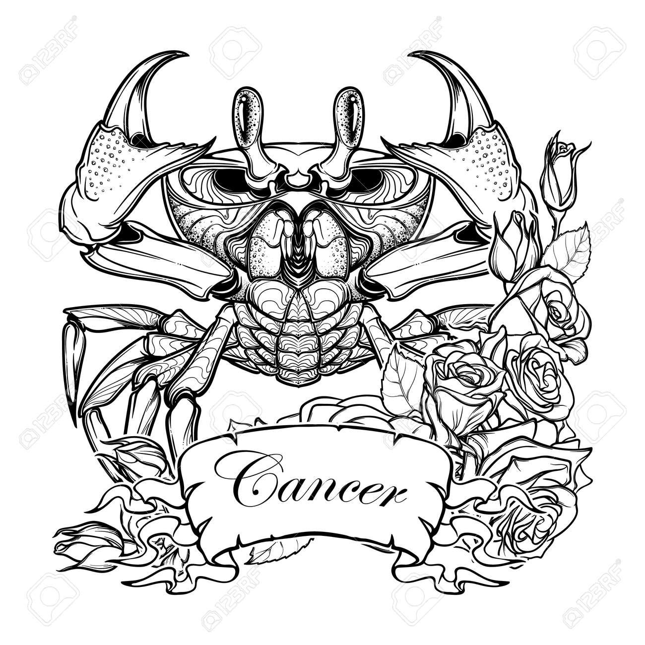 Signo Del Zodiaco Cáncer Dibujo Simétrico Exacto Del Cangrejo De La Playa Con Un Marco De Rosas Arte Conceptual Para El Tatuaje Horóscopo