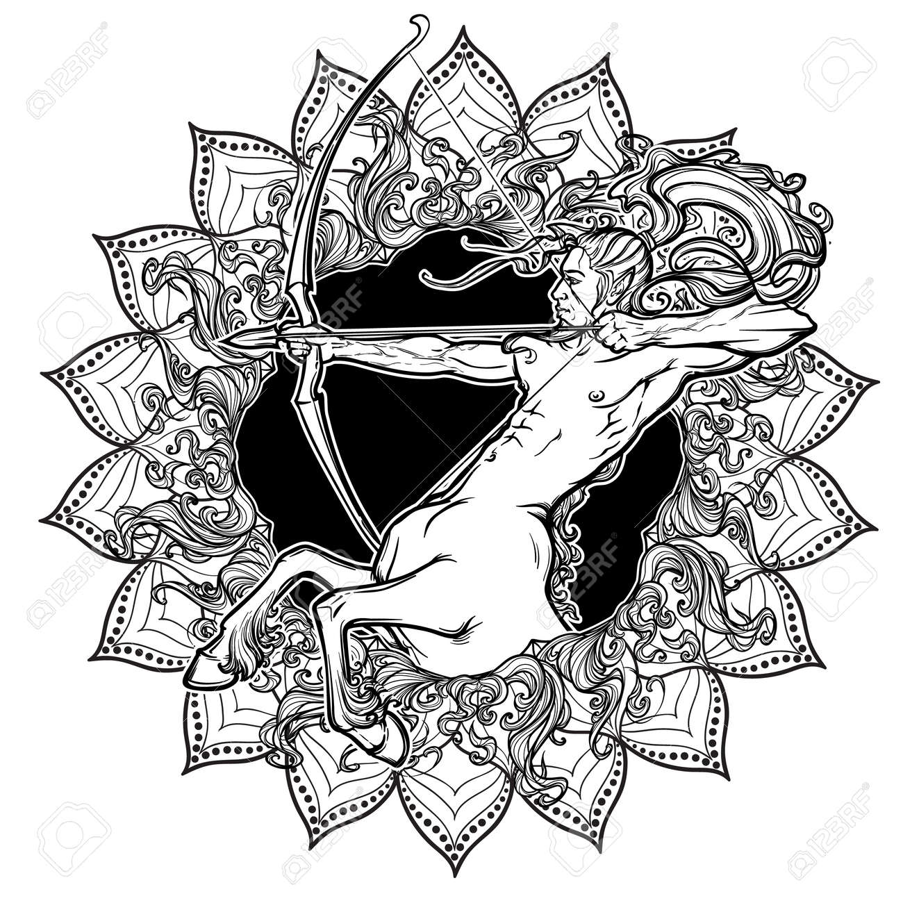 Signo Del Zodiaco De Sagitario Con Un Marco Decorativo De Las