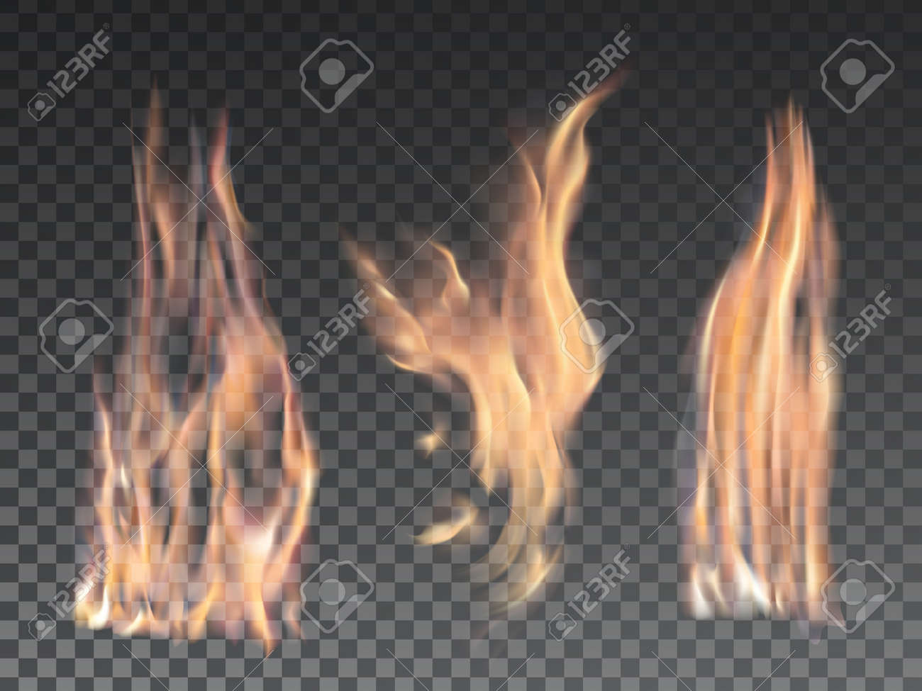 set of realistic fire