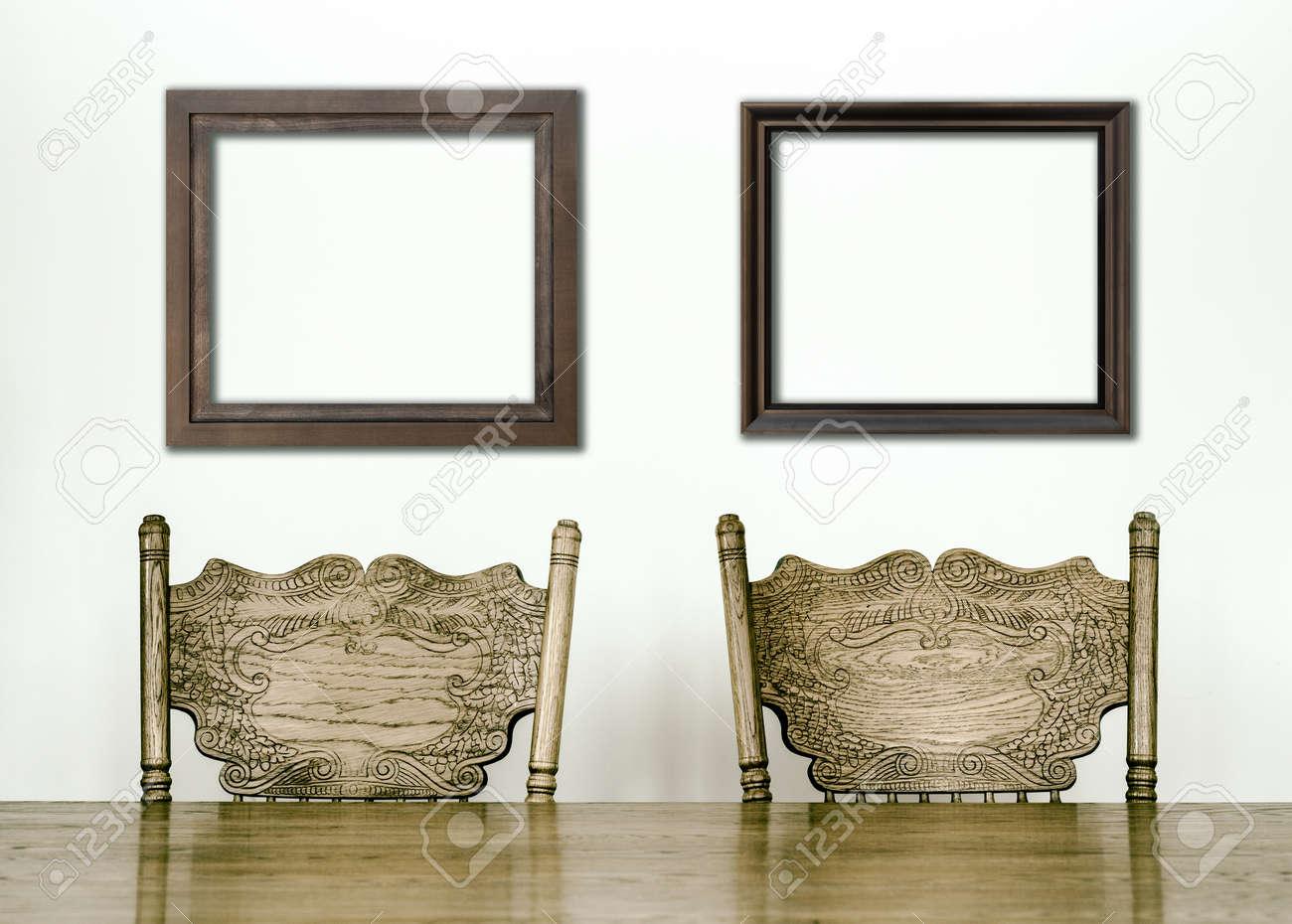 banque d images tables et chaises de salle a manger details en bois et cadres vierges pour votre texte image ou un logo ou meme des photos de famille