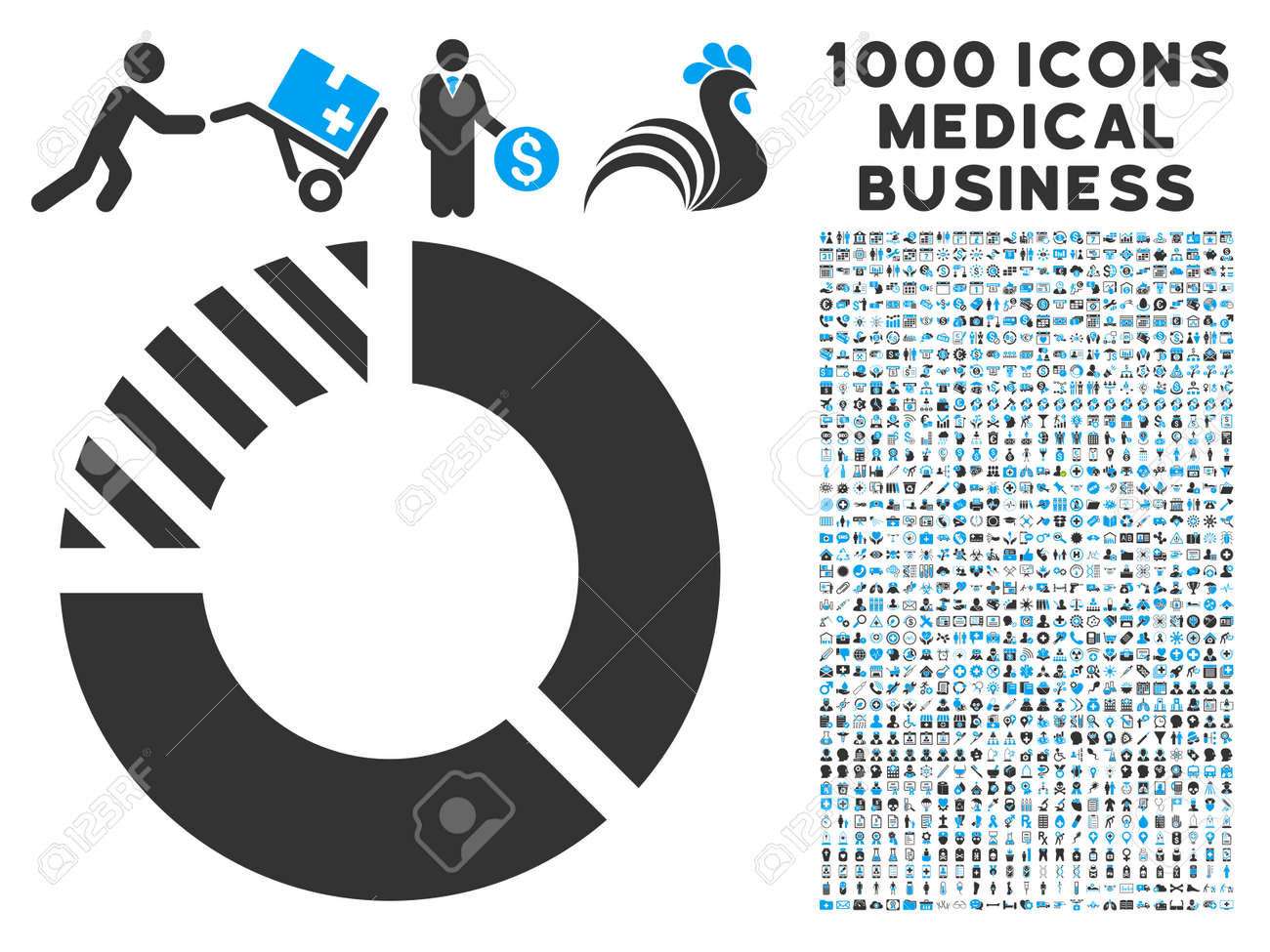 hight resolution of pie chart icon with 1000 medical commerce gray and blue glyph pictographs clipart style is