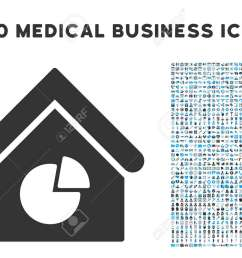 realty pie chart icon with 1000 medical commerce gray and blue glyph design elements clipart [ 1300 x 975 Pixel ]
