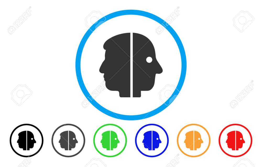 medium resolution of dual face vector rounded icon image style is a flat gray icon symbol inside a