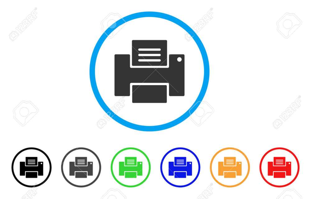 medium resolution of printer rounded icon style is a flat printer gray symbol inside light blue circle with