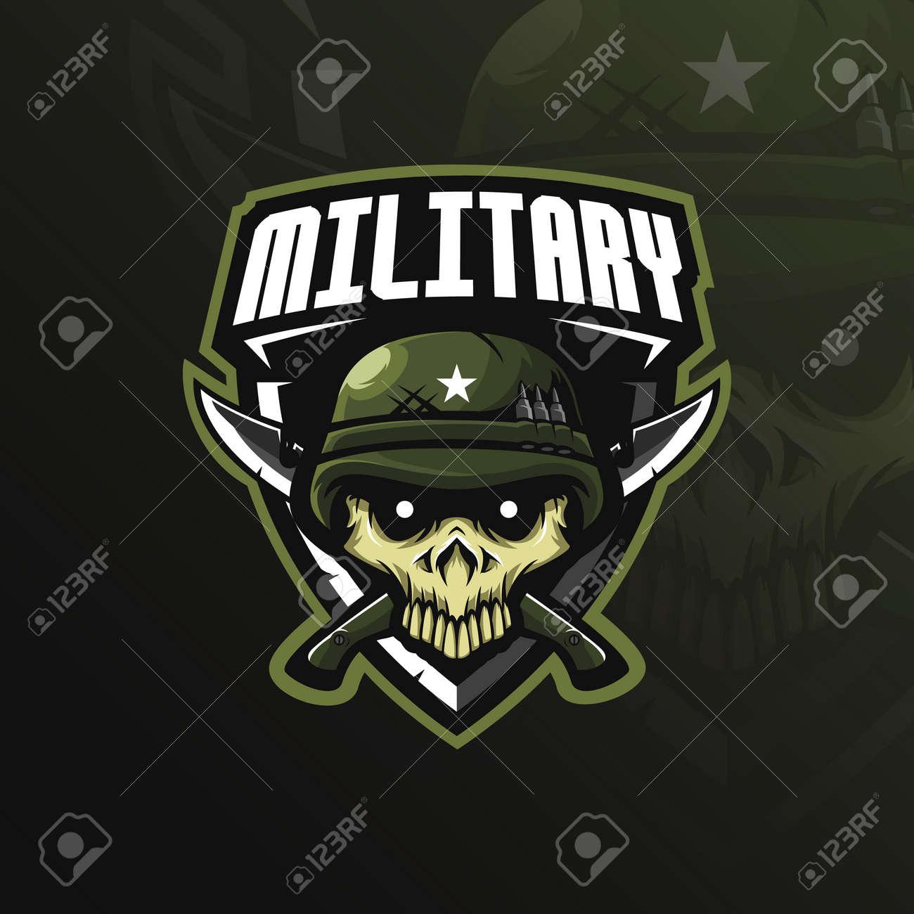 skull military mascot logo
