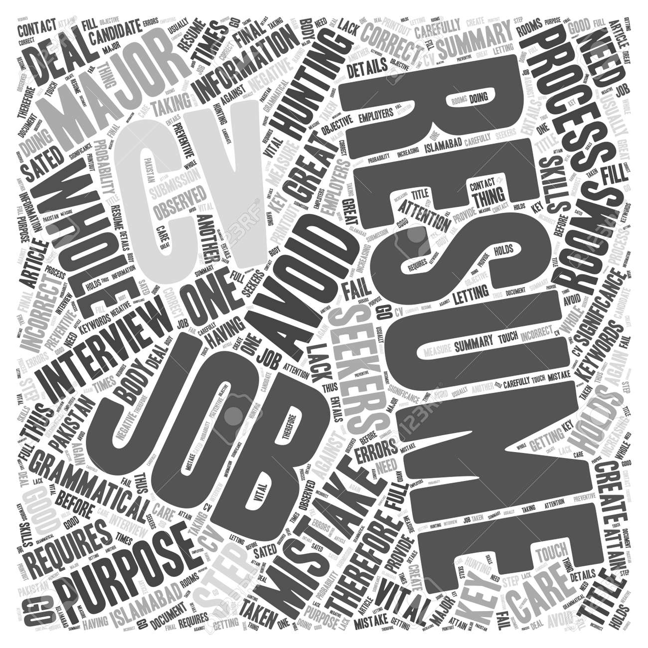 Resume Mistakes Key Resume Mistakes To Avoid Word Cloud Concept