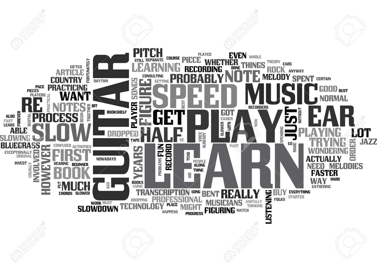 hight resolution of you can learn to play the guitar by ear text word cloud concept stock vector