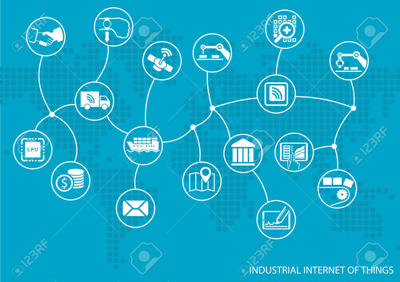 hight resolution of industrial internet of things iot concept world map of connected value chain of goods including