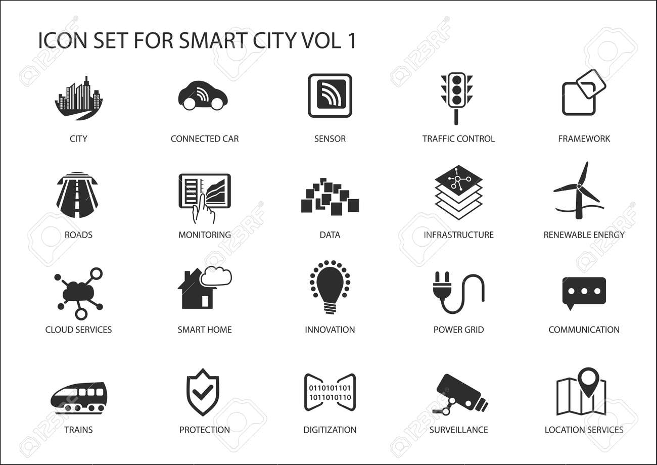 smart city vector icons