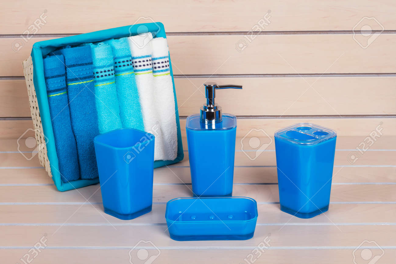 Blue Bathroom Accessories Blue Modern Bathroom Accessories With Towel Basket