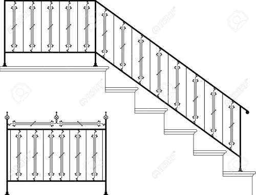 small resolution of vector wrought iron stair railing design vector art