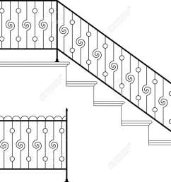 vector wrought iron stair railing design vector art [ 1300 x 974 Pixel ]