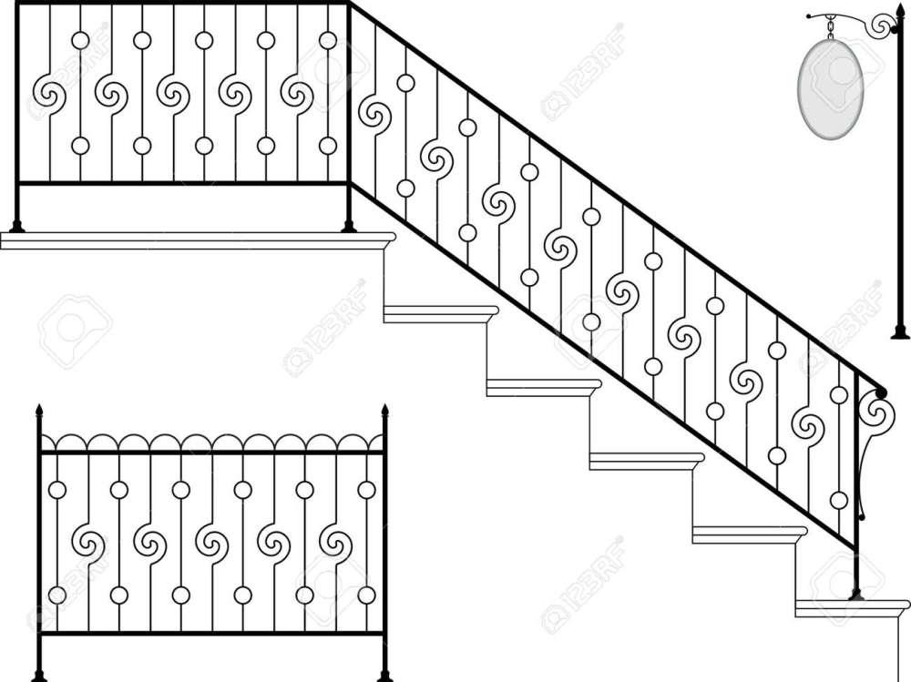 medium resolution of vector wrought iron stair railing design vector art